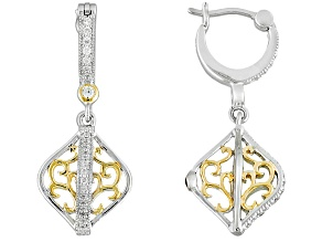 Cubic Zirconia 18k Yellow Gold Over Silver And Platieve Earrings .54ctw