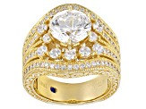 White Cubic Zirconia 18k Yellow Gold Over Sterling Silver Ring 6.35ctw