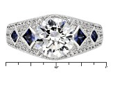 White And Blue Cubic Zirconia Platineve Ring 5.69ctw