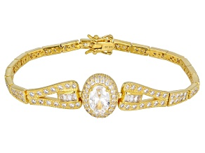 White Cubic Zirconia 18K Yellow Gold Over Silver Bracelet 10.49ctw.