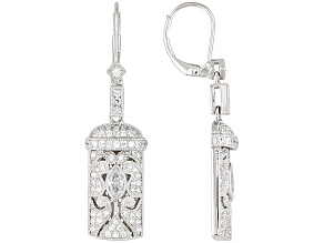 White Cubic Zirconia Platineve Earrings 2.00ctw.