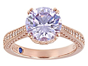 Purple And White Cubic Zirconia 18k Rose Gold Over Silver Ring 5.98ctw.