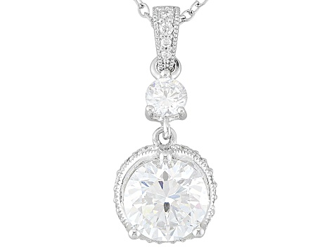Platineve Cubic Zirconia Pendant With Chain 4.14ctw