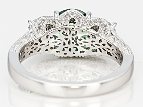 Green And White Cubic Zirconia Platineve Ring 6.02ctw