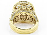 Cubic Zirconia 18k Yellow Gold Over Sterling Silver Ring 11.77ctw