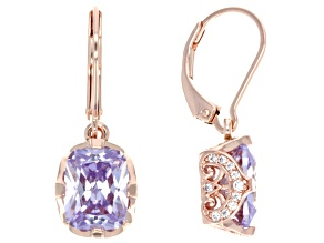 Purple And White Cubic Zirconia 18k Rose Gold Over Silver Earrings