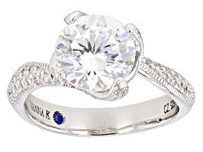 Cubic Zirconia And Lab Created Sapphire Platineve Ring 5.20ctw