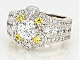 Yellow And White Cubic Zirconia Platineve & 18k Yellow Gold Over Silver Ring 5.66ctw