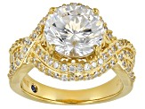 Cubic Zirconia 18K Yellow Gold Over Silver Ring 7.75ctw