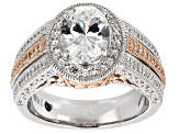 Cubic Zirconia Platineve And 18K Rose Gold Over Sterling Silver Ring 5.16ctw
