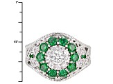 Green And White Cubic Zirconia Platineve Ring 2.96ctw