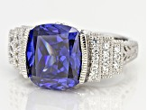Blue And White Cubic Zirconia Platineve Ring 10.14ctw