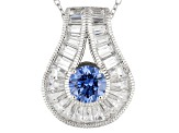 Blue And White Cubic Zirconia Platineve Pendant With Chain 4.26ctw