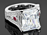 Lab Created Ruby And White Cubic Zirconia Platineve Ring 8.03ctw