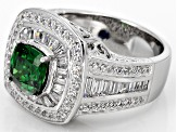 Green And White Cubic Zirconia Sterling Silver Ring 4.87ctw