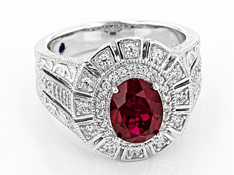 Ruby Simulant And White Cubic Zirconia Platineve Ring 2.80ctw
