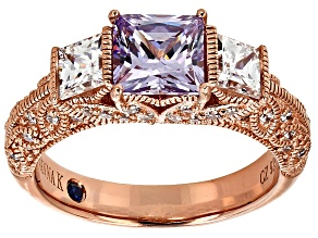 Purple And White Cubic Zirconia 18k Rose Gold Over Silver Ring 3.38ctw