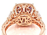 Purple And White Cubic Zirconia 18k Rose Gold Over Silver Ring 6.57ctw