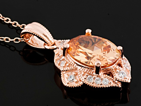 Champagne And White Cubic Zirconia 18k Rose Gold Over Silver Pendant With Chain 4.35ctw
