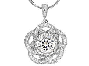 White Cubic Zirconia Platineve Pendant With Chain 5.25ctw