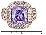 Purple And White Cubic Zirconia 18k Rose Gold Over Silver Ring 9.63ctw