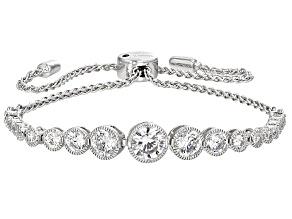 White Cubic Zirconia Platineve Adjustable Bracelet 4.56ctw