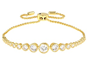White Cubic Zirconia 18K Yellow Gold Over Sterling Silver Adjustable Bracelet 4.57ctw