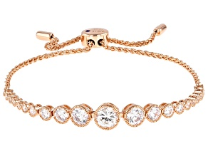White Cubic Zirconia 18K Rose Gold Over Sterling Silver Adjustable Bracelet 4.57ctw