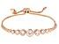 White Cubic Zirconia 18K Rose Gold Over Sterling Silver Adjustable Bracelet 4.57ctw