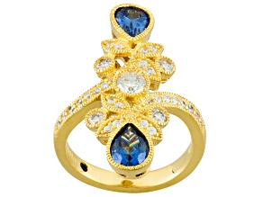 Blue And White Cubic Zirconia Eterno 18k Yellow Gold Ring 3.22ctw