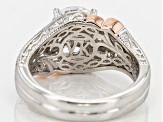 Cubic Zirconia Sterling Silver And 18k Rose Gold Over Sterling Silver Accents Ring 3.29ctw