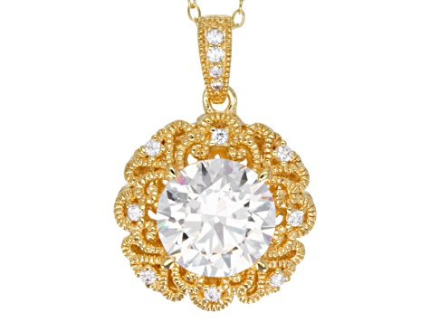 Cubic Zirconia 18k Yellow Gold Over Sterling Silver Pendant With Chain 4.28ctw