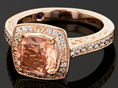 Pink Genuine Quartz Doublet And White Cubic Zirconia 18k Rose Gold Over Sterling Silver Ring