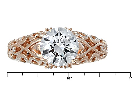 Cubic Zirconia Sterling Silver 18k Rose Gold Over Sterling Silver Ring 3.17ctw