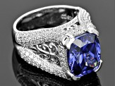 Blue And White Cubic Zirconia Platineve Ring 11.52ctw