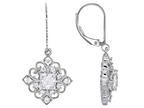 Cubic Zirconia Platineve Earrings 2.83ctw