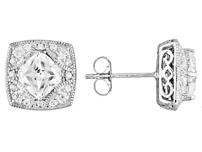 Cubic Zirconia Platineve Earrings 3.71ctw