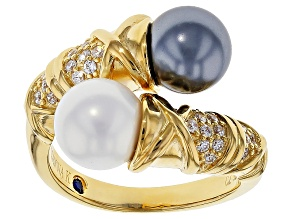 Pearl Simulant And White Cubic Zirconia 18k Yellow Gold Over Silver Ring 5.43ctw