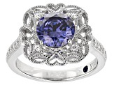 Blue And White Cubic Zirconia Platineve Ring 3.21ctw