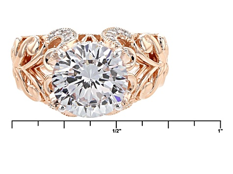 Cubic Zirconia 18k Rose Gold Over Sterling Silver Ring 6.88ctw