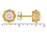 Cubic Zirconia 18k Yellow Gold Over Sterling Silver Earrings 3.14ctw
