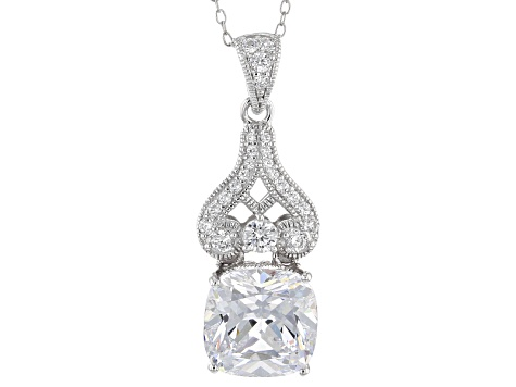 Cubic Zirconia Platineve Pendant With Chain 8.11ctw