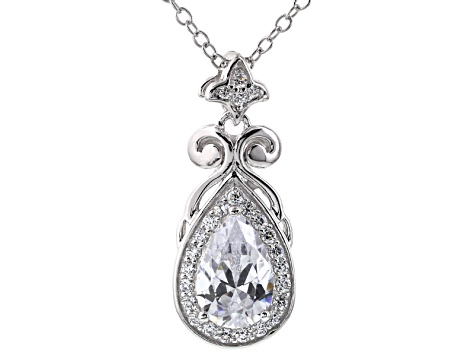 Cubic Zirconia Platineve Pendant With Chain 2.46ctw