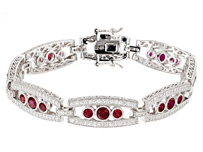 Red Synthetic Corundum And White Cubic Zirconia Platineve Bracelet 6.76ctw