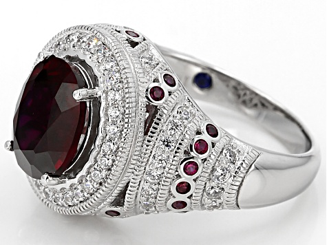 Lab Created Ruby And White Cubic Zirconia Platineve Ring 3.79ctw