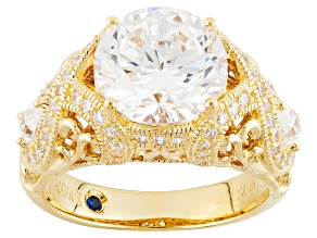 White Cubic Zirconia 18k Yellow Gold Over Silver Ring 7.89ctw