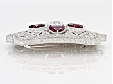 Synthetic Red Sapphire And White Cubic Zirconia Platineve Brooch 10.46ctw