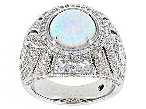 Lab Created Opal And White Cubic Zirconia Platineve Ring 4.13ctw