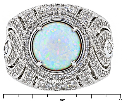 Synthetic Opal And White Cubic Zirconia Platineve Ring 4.13ctw