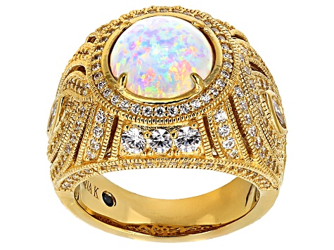 White Synthetic Opal And White Cubic Zirconia 18k Yellow Gold Over Silver Ring 4.13ctw